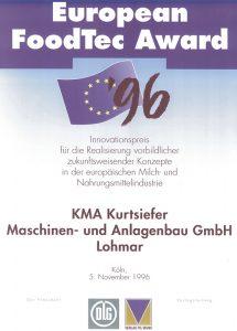 Urkunde des Innovationspreises European Foodtec Award verliehen an KMA im Jahr 1996
