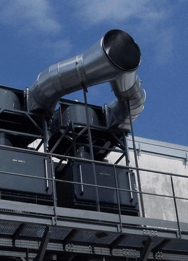 KMA Abluftbetrieb: Die gereinigte Abluft wird nach draußen geblasen