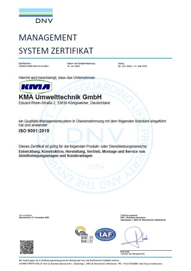 Qualitätsmanagement bei KMA Umwelttechnik ISO Zertifikat