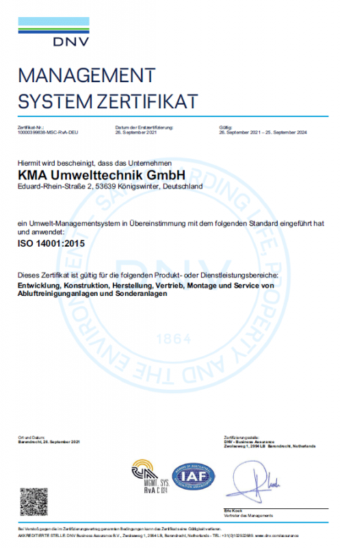 ISO environment management system certificate